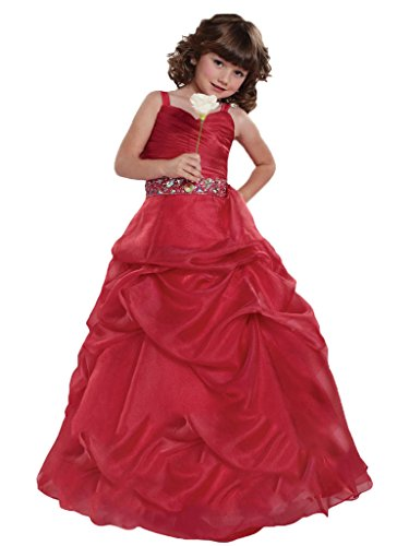 GreenBloom Girls' Spaghetti Zipper Crystals Organza Party Ball Gowns Red 8