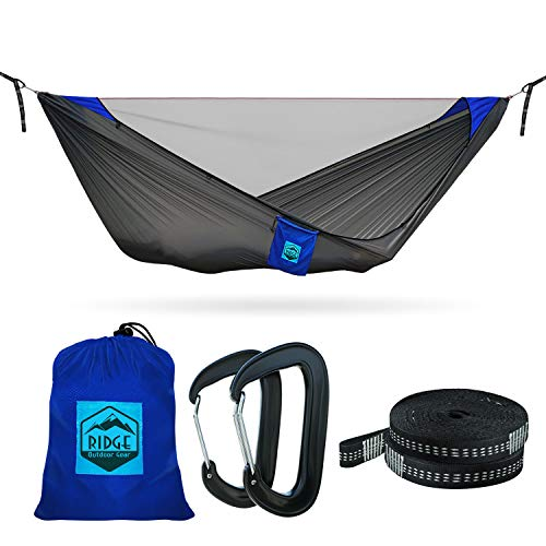 11ft Camping Hammock with Mosquito Net - 2019 Upgraded - Ultralight Hammock Tent Bundle with Bug Netting, Straps, and Carabiners (Grey-Blue Ripstop with Ridgeline, Double/Large)
