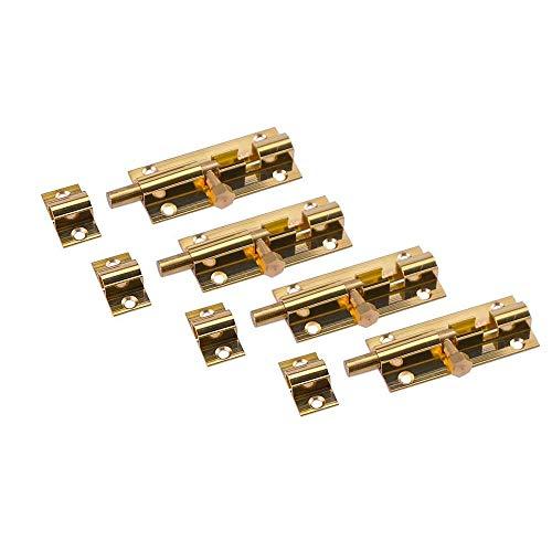 Liyafy 4Pcs Pure Brass Slide Barrel Bolt Lock Safety Door Latch Security Guard Locking 2-Inch
