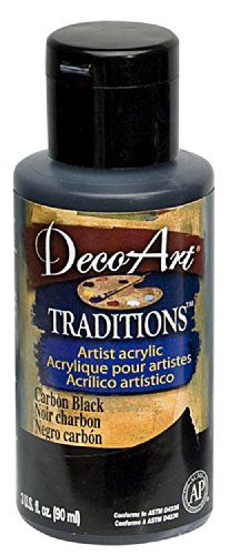 DecoArt Traditions Artist Acrylic Paint, 3-Ounce, Carbon Bla