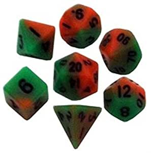 7 Count Mini Dice Set: Orange/Green with Black Numbers