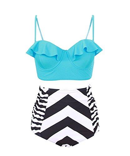Reinhar Vintage High Waist Floral Women's Bikini Set Strappy Push Up Bathing Suit Blue Top With Zebra BottomMedium (Swimsuit Maternity Zebra)