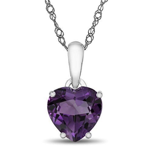 - Finejewelers 10k White Gold 7mm Heart Shaped Amethyst Pendant Necklace