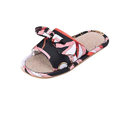Indoor Antiscivolo Nero Ciabatte Scarpe Pantofole Di Donna Confort Lino IYBpn14