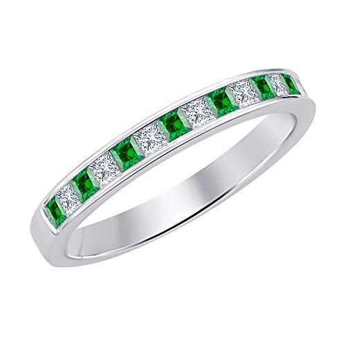 (Princess Cut Emerald & Diamond .925 Sterling Silver Engagement Wedding Band Ring for)
