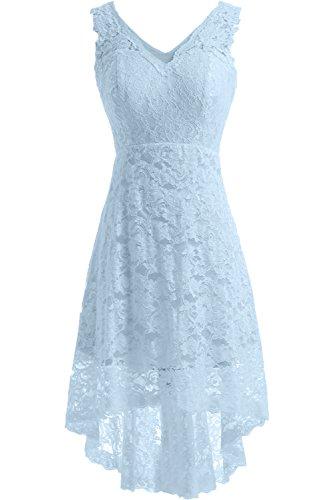 Hellblau Hochzeitskleid Satin A Linie Kurz Bride Ausschnitt Brautkleid V Gorgeous Spitze Elegant Cqw6xPSn1