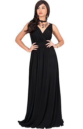 KOH KOH Womens Long Sleeveless Flowy Bridesmaids Cocktail Evening Semi Formal Sexy Summer Wedding Ball Gown Gowns Maxi Dress Dresses, Color Black, Size 2X Large / XXL / 18-20 (Sexy Black Wedding Dress)