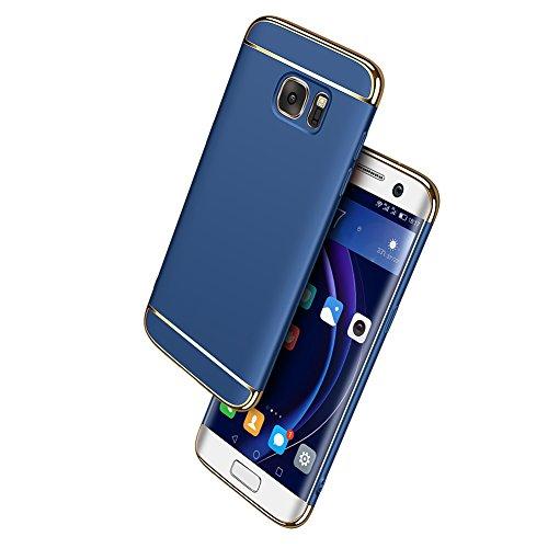 Galaxy S7 Case Ultra Slim Scratch-Resistant Shockproof Reinforced Hard Bumper Electroplate Frame Back Cover For Samsung phone -- ( Blue ) …