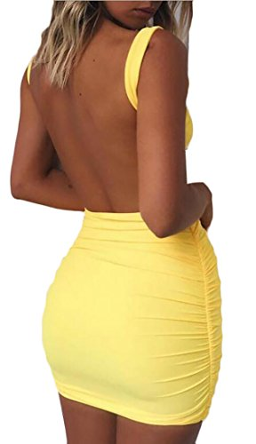 Package Women Sexy Jaycargogo Bodycon Mini s Backless Dress Yellow Hip 6wIwHT