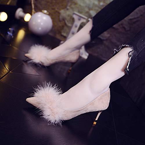 Baja Primavera Altos Estilete Zapatos Tacón Pequeño Alto Moda Con Individuales Puntiagudos Apricot Boca De Tacones Yukun YqBaHw