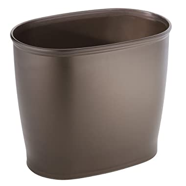 InterDesign Kent Bathware, Oval Wastebasket Trash Can for Bathroom, Kitchen, Office - Bronze