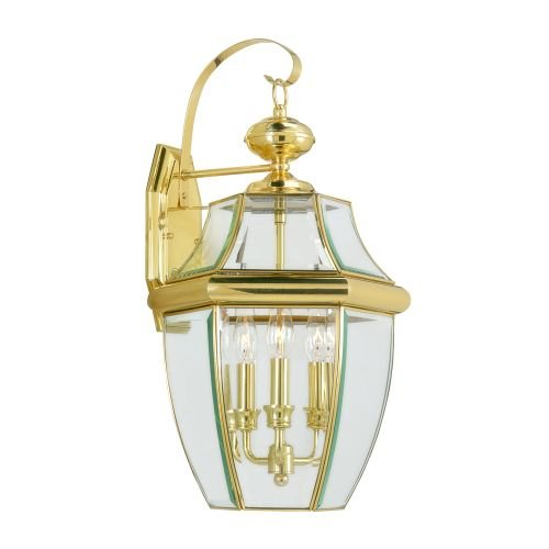 Livex Light Fixture - Livex Lighting 2351-02 Monterey 3 Light Outdoor Polished Brass Finish Solid Brass Wall Lantern  with Clear Beveled Glass