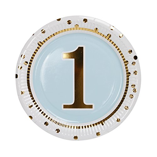 (Geeklife 1st Birthday Boy Paper Plates,Cute Blue Birthday Party Plates, 9 inch Gold Paper Party Plates, 20 PCS Lively Decorative Paper Plates)