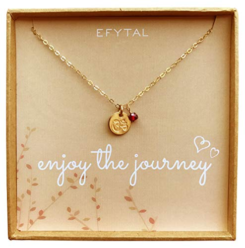Tiny Gold Filled Ohm Necklace on Enjoy The Journey Card Dainty Om Pendant - Yoga Necklace