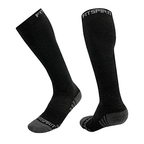 Fit Spirit 2 Pairs Merino Wool Graduated Compression Midweight Training Socks -