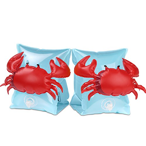HeySplash Inflatable Arm Bands for Kids, Floatation Sleeves Floats Tube Water Wings Swimming Arm Floats Cute, Crabby Blue