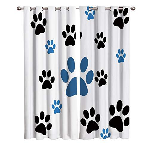 Blackout Curtains/Drapes for Kids Bedroom Cartoon Pet Paw Print Window Treatments Grommet Top Curtains for Living Room Kitchen 2 Pannels Set, 40(W) X63(H) InX2 (Window Pannels)