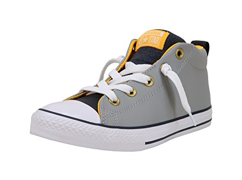 Converse Kid's Shoes Chuck Taylor All Star Street Mid Gray Fashion Skate Sneakers (3.5 M Big Kid's) (Gray Converse Shoes)
