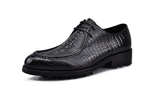 Happyshop (tm) Heren Krokodillenleer Veter Oxford Oxford Formele Schoenen Met Verhoogde Binnenzool Zwart