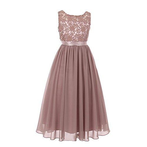 Cinderella Couture Big Girls Dusty Rose Satin Sash 3D Lace Chiffon Junior Bridesmaid Dress10 from Cinderella Couture
