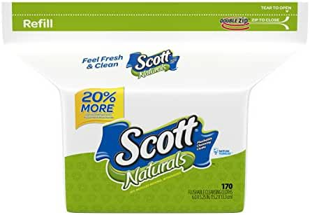 Scott Naturals Flushable Cleansing Cloths Bag 170