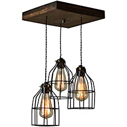 West ninth Vintage Old Elm Wood Multi Pendant Farmhouse Chandelier | 3 Sockets with Black Cages