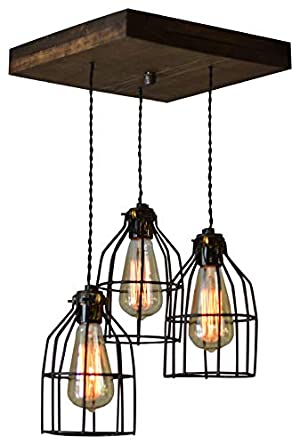 West Ninth Vintage Old Elm Wood Multi Pendant Farmhouse Chandelier 3 Sockets With Black Cages