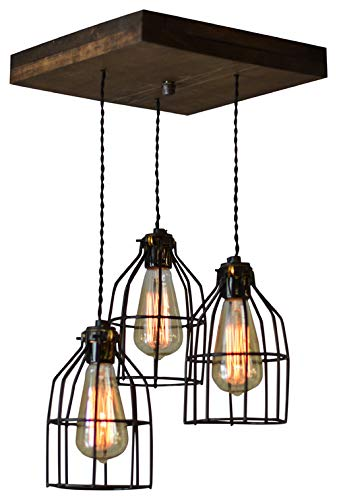 West Ninth Vintage Old Elm Wood Multi Pendant Farmhouse Chandelier - 3 Sockets with Black Cages ()