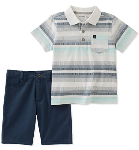 Calvin Klein Baby Boys 2 Pieces Polo Shorts Set, Navy/Multy, 18M