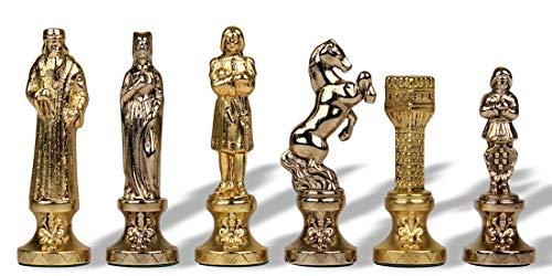 (Renaissance Chess Set in Brass & Nickel - 3.25