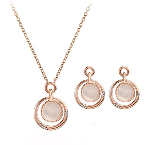 Celendi_Jewelry Women's Circular Earrings Crystal Pendant Necklace Ear Studs Suit - Mother Of Pearl Circular Earring