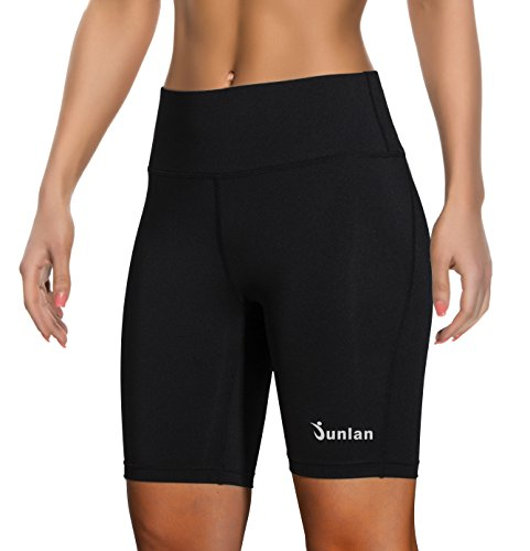 Women Yoga Shorts Pants Workout Running High Waist Athletic Short Sport Fitness Jogging Tights Tummy Control Clothes (Black, M)