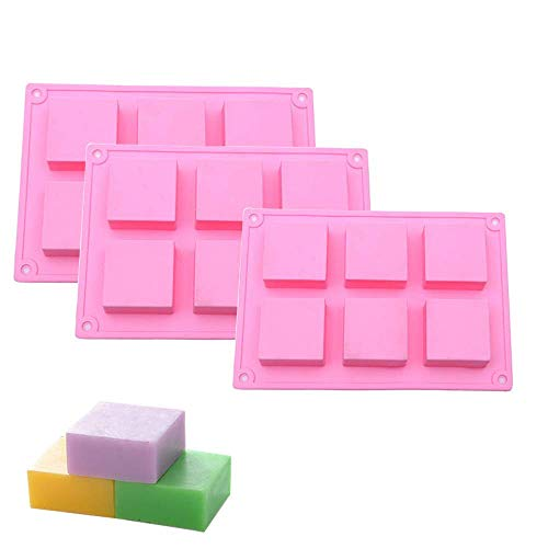 - ECHODONE 6 Cavities Square Silicone Soap Mold DIY Craft Handmade Bar Mold for Baking Ice Cube Tray Set of 3