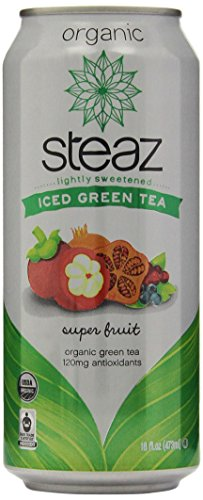 Steaz Organic Iced Teaz Green Tea with Superfruit, 16 Ounce (Pack of 12)