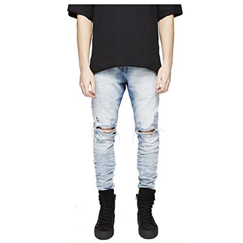 (LONGBIDA Slim Fit Ripped Jeans Men Hi-Street Mens Distressed Denim Joggers Knee Holes Washed Destroyed Jeans(Blue,32))