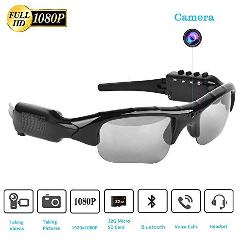 Bluetooth Sunglasses Camera,Full HD 1080P with 65 Degree Angle Mini Camera for Outdoor Sports.