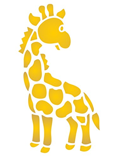 Wild Animal Stencils (Stencils for Walls - Baby Giraffe Stencil - 4.5 x 8 inch (M) - Reusable Nursery Wild Animal Kids Stencils for Painting - Use on Paper Projects Walls Floors Fabric Furniture Glass Wood etc.)