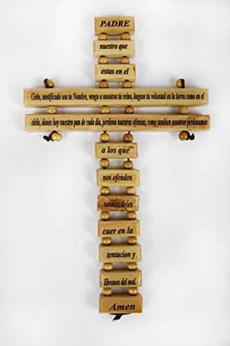 """Olive Wood Crucifix / Wall Cross adorned with the """"Our Father Prayer"""" (Spanish Small Version) from Jerusalem Hand Crafted by Artisans in Bethlehem (the heart of the holy land). An Ideal Religious Gift for Christmas or any other Christian Holiday."""
