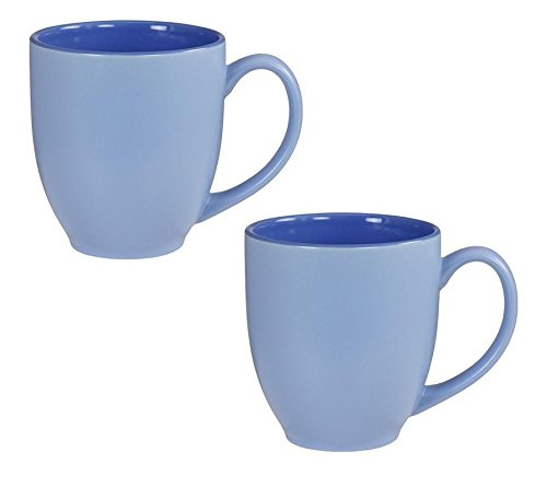 Bistro Pastel Large Coffee & Tea Mug Matte Blue w/ Gloss Interior, 16 ounce (Pack of 2)