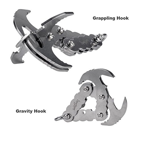 (WodsWod Grappling Hook, Stainless Steel Outdoor Folding Gravity Hook, Load Up to 170lbs for Climbing, Hiking, or Tree Limb)