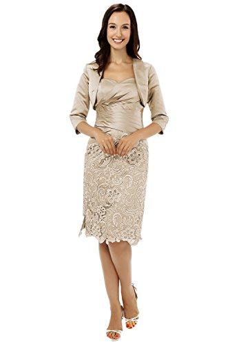 Albrose Short Satin Formal Mother of the Bride Dress Prom Dresses Champagne US4