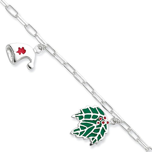 925 Sterling Silver Enameled Holiday Bracelet 7.5 Inch Charm W/charm Fine Jewelry Gifts For Women For -