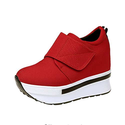 Women Wedges Platform Shoes Thick Soles Outdoor Casual Shoe Female Running Hiking Sneakers Grey Black Fashion Red-2 66uwMW