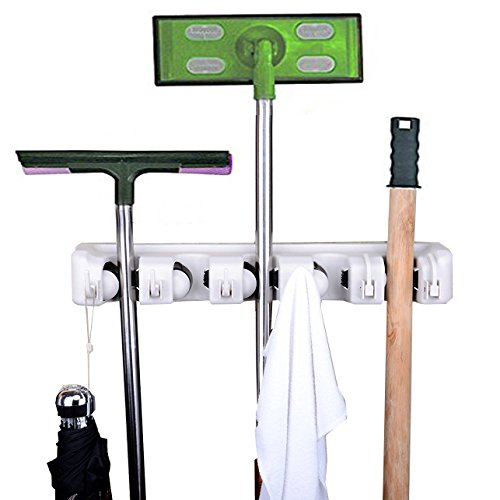 Broom and Mop Holder ( 5 Position 6 Hooks ) --- Lifeasy Multifunctional Wall Mounted Automatic Handle Grips Household Tool and Garage Storage Organization Systems