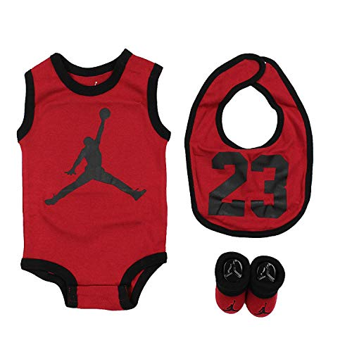 Air Jordan Infant 3 Piece Set (Gym Red (R78), 0-6 Months) (Jordan Toddler Outfit)