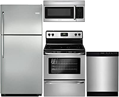 """frigidaire 4-Piece Stainless Steel Package with FFTR2021QS 30"""" Top Freezer Refrigerator, FFEF3043LS 30"""" Electric Range, FFBD2412SS 24"""" Full Console Dishwasher, FFMV164LS 30"""" Over the Range Microwave"""