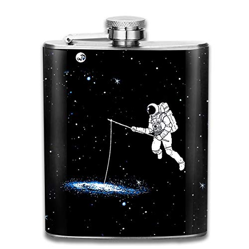 (Laki-co Space Astronaut Fishing Hip Flask for Liquor Stainless Steel Bottle Alcohol)