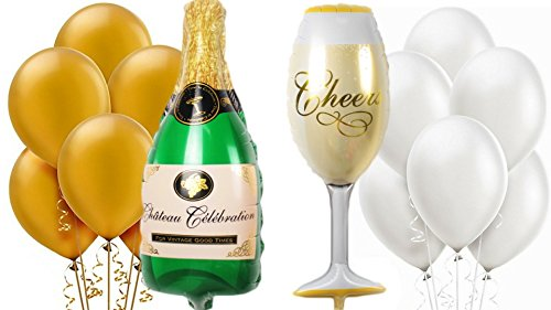 Giant 39quot Champagne Bottle Wine Glass Mylar Balloons Gold White 12quot Latex Pearl Party Decoration Kit Proposal Vow Renewal Valentine#039s Day Bridal Shower Wedding Bachelorette Celebration Anniversary
