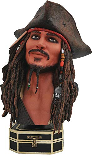 DIAMOND SELECT TOYS Legends in 3-Dimensions: Pirates of The Caribbean Jack Sparrow Half-Scale Resin Bust, Multicolor