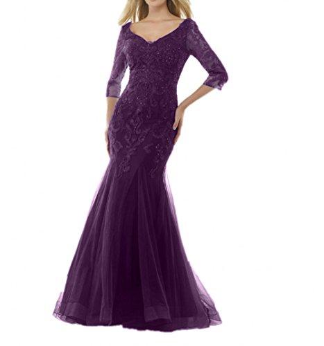 Dunkel Damen mia Brautmutterkleider Langarm Spitze Abendkleider Etuikleider Meerjungfrau Blau Traube Partykleider Braut La qwURExCw